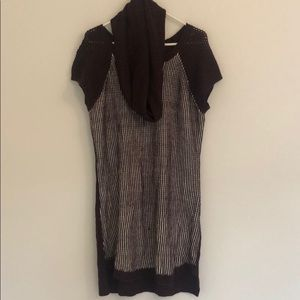 Extra Touch Purple Knit Sweater Tunic and Scarf